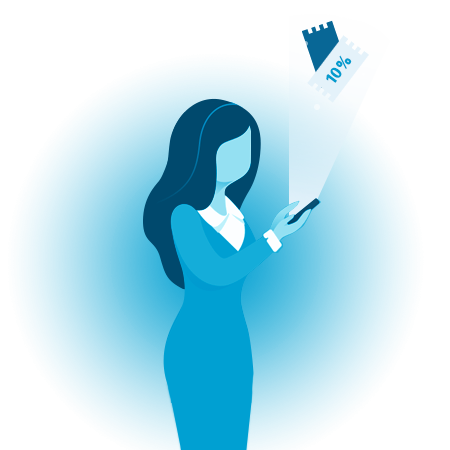 Illustration of woman holding a phone