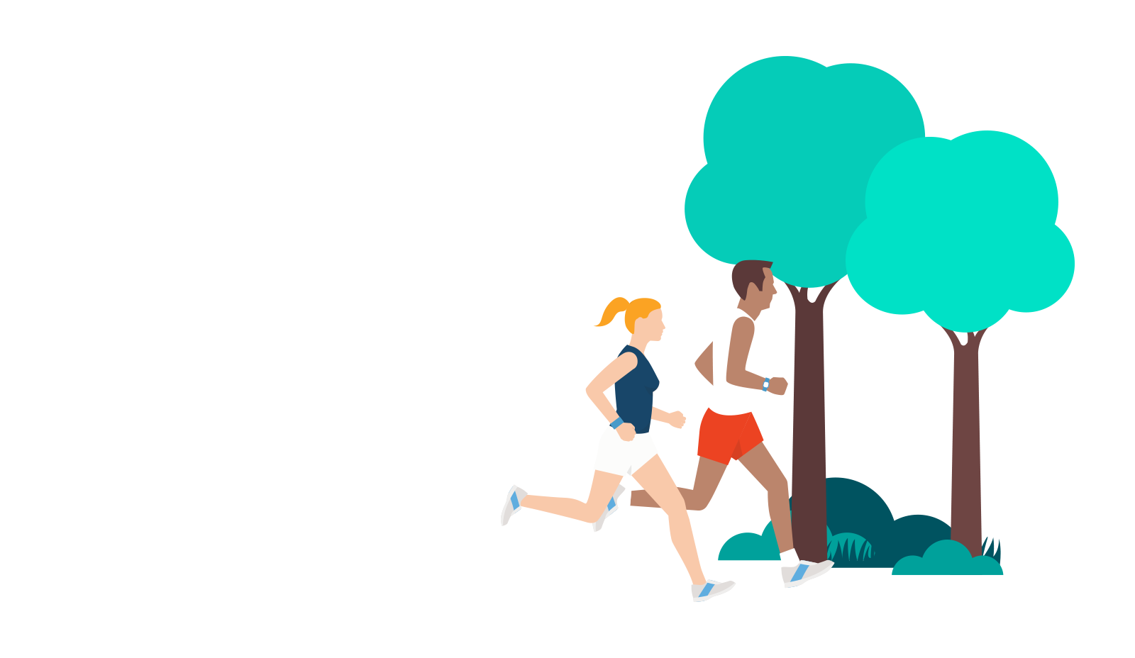 Illustration of people running outdoors