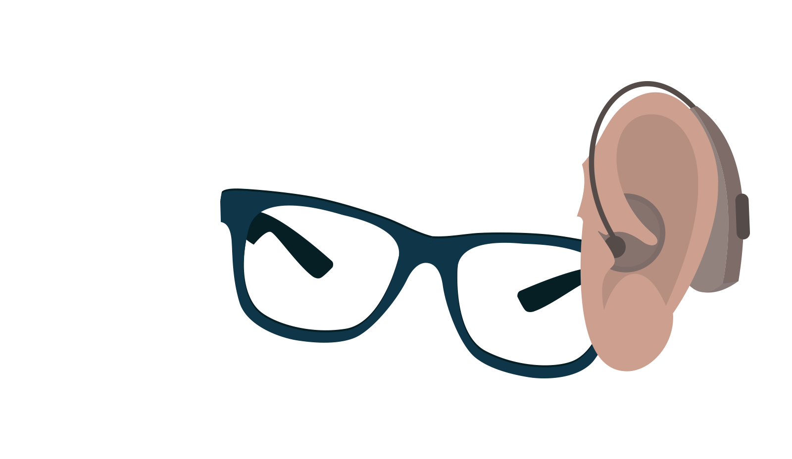 A pair of black glasses and an ear with a hearing aid.