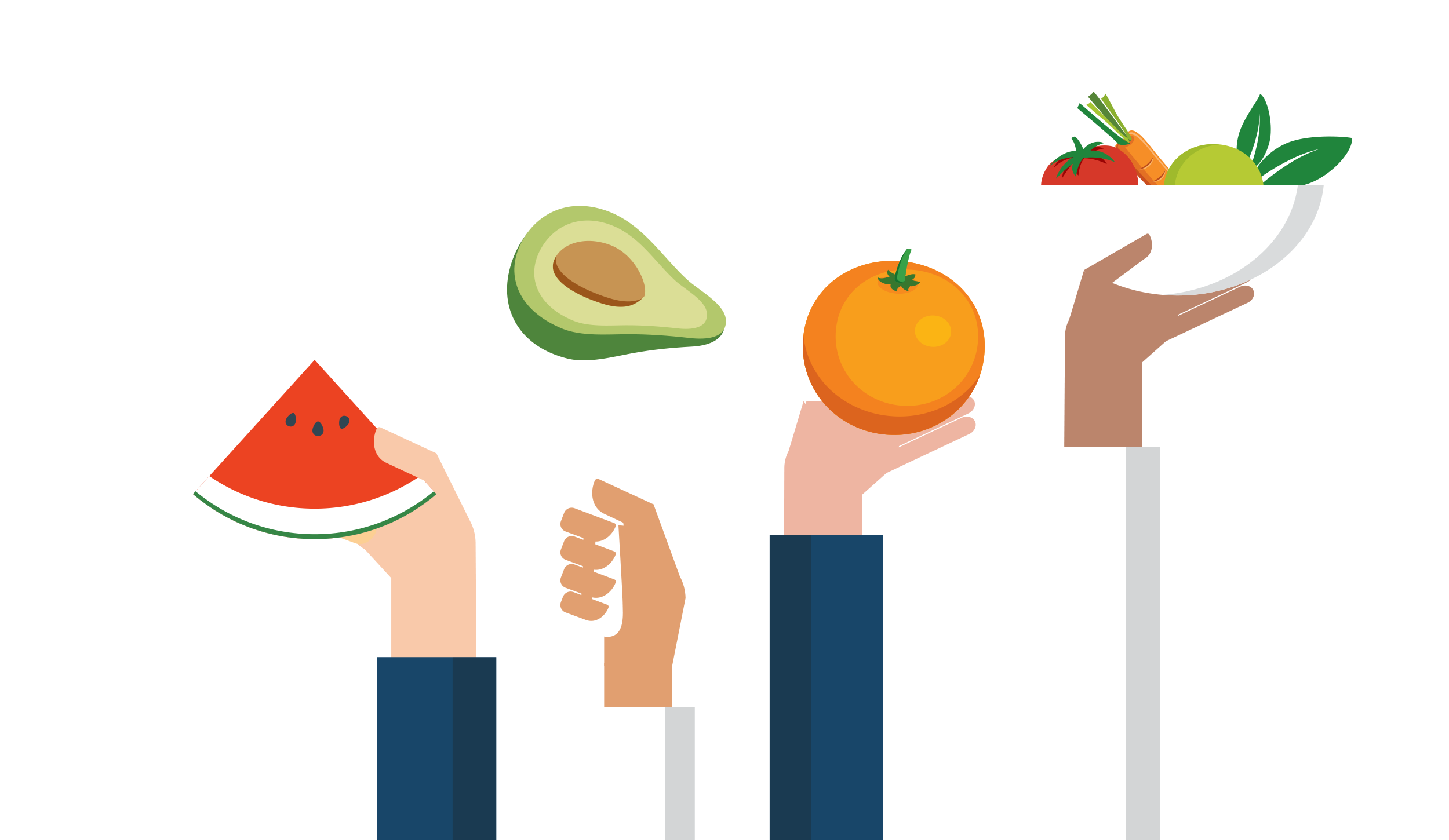 Four hands holding up a watermelon, avocado, orange and bowl of fruit.