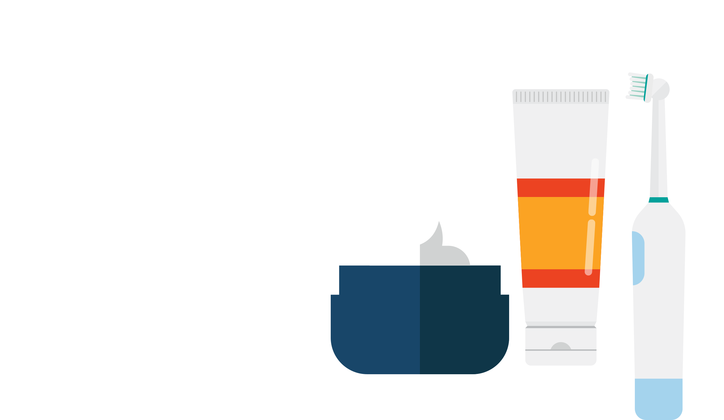 A dark blue jar of cream, a white and orange tube of lotion and a mechanical toothbrush.