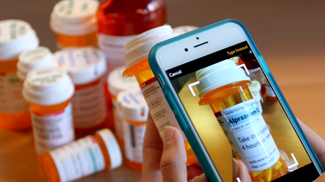 Phone taking picture of prescription bottle