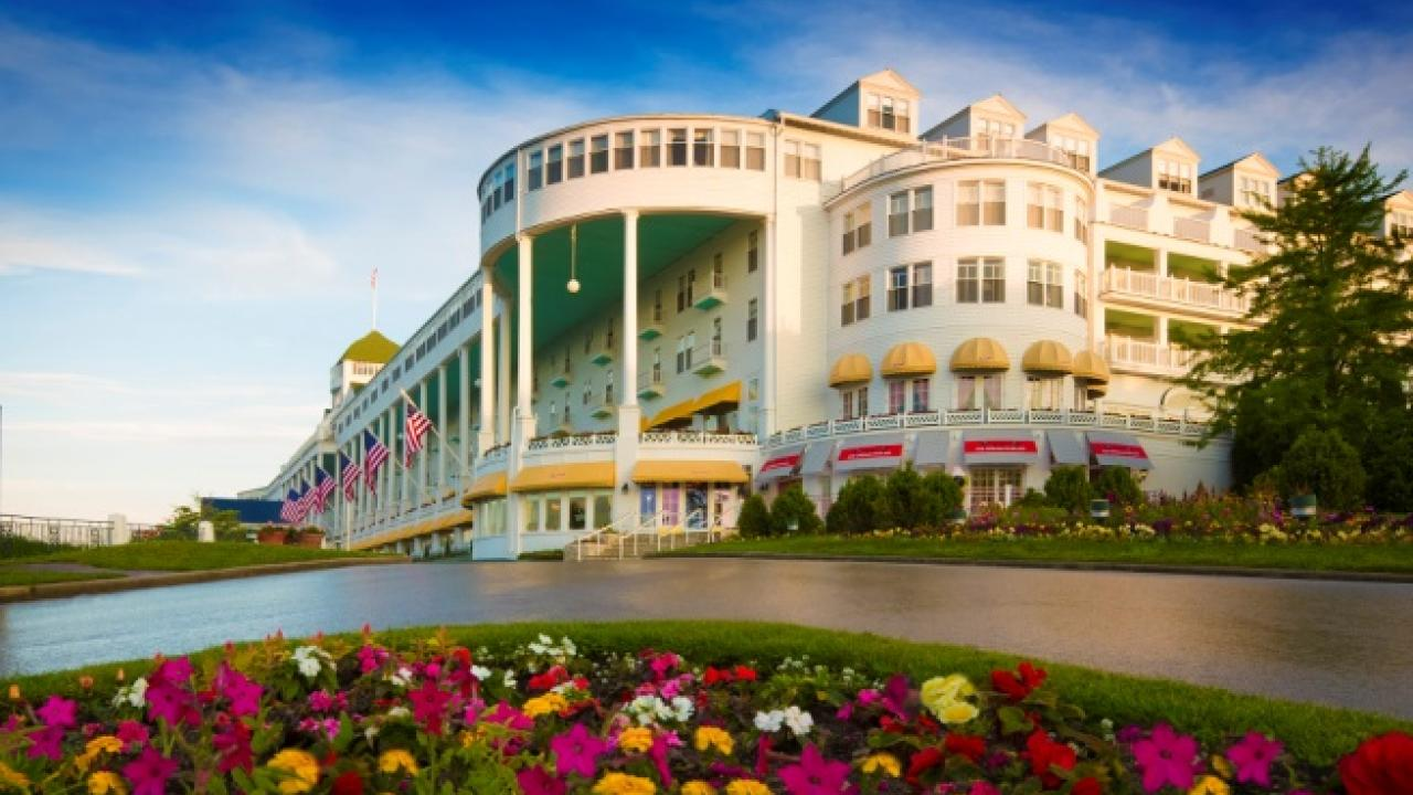 Grand Hotel Mackinac Island Michigan outside with flowers