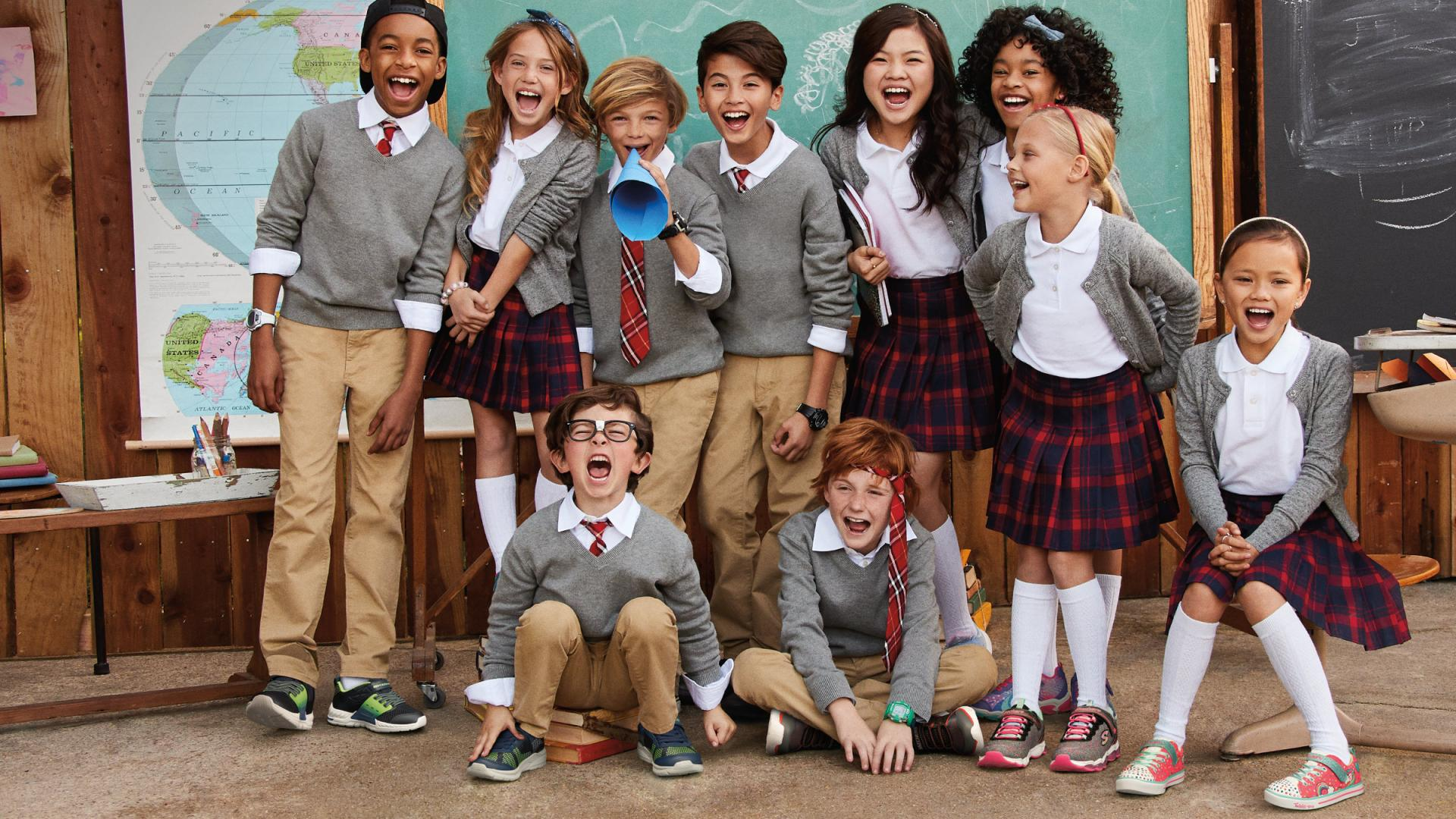 Group of kids in back to school uniforms