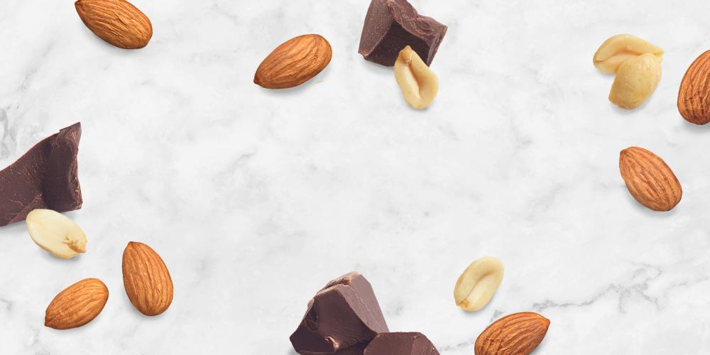 chocolate, almonds and peanuts